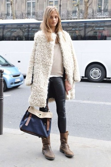 faux coat jacket fur white long fuzzy anna selezneva