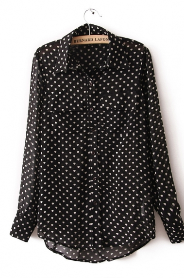 Cute Heart Print Patch Pockets Blouse
