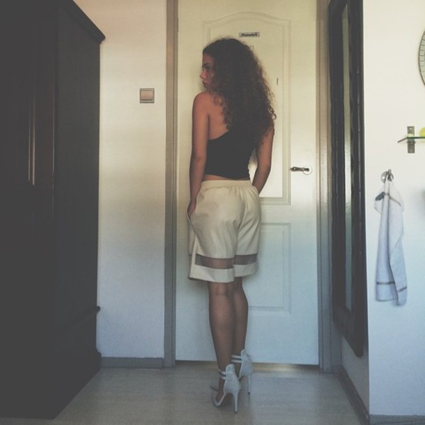 shorts white swag black crop top white heels curly hair