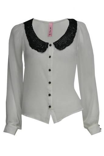 Womens Latoya Crochet Peter Pan Collar Blouse | Pop Couture