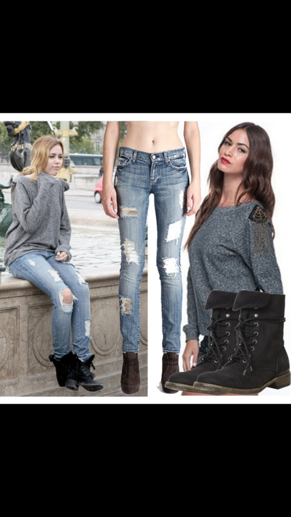 jeans miley cyrus funny distroyed helptofind holes shoes