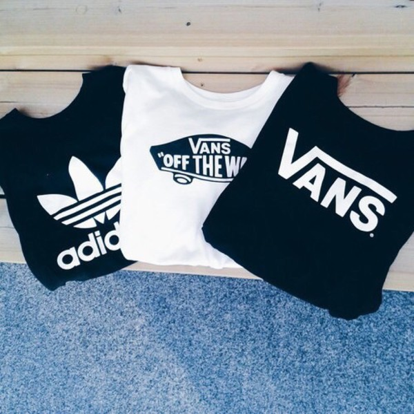 T shirt top adidas vans shirt white black wheretoget for How to get foundation out of a white shirt