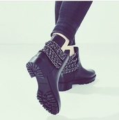 black,boots,boots with spikes and cheetah print,short boots,short boot cuffs,short boots buckle black,short black boots