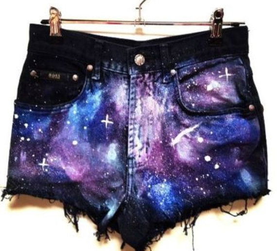 High Waisted Black Galaxy Shorts by InfiniteTrends on Etsy on Wanelo
