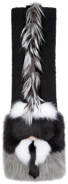 Fendi fur fox scarf black