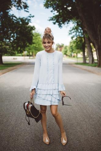 dress tumblr mini dress blue dress light blue long sleeves long sleeve dress flats pointed flats bag shoes