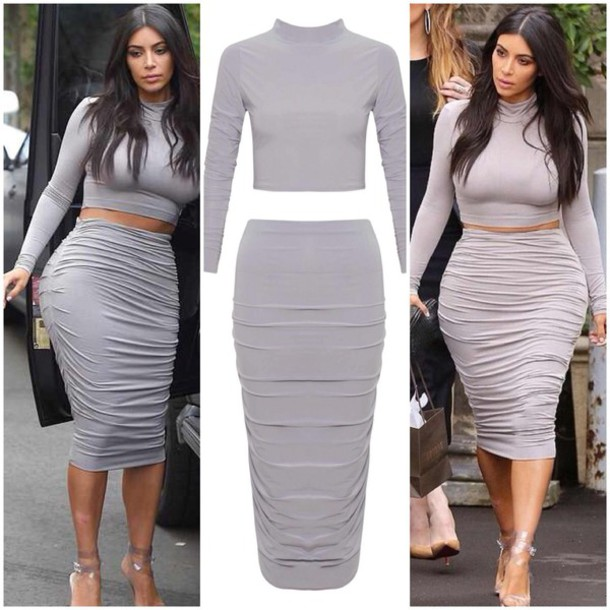 crop tops midi skirt dress grey outfit kim kardashian dress skirt top