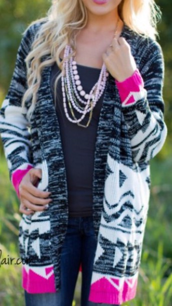 Cardigan: pink, grey, black, white, oversized, sweater, grey ...