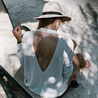 top tumblr hat straw hat sun hat open back backless backless top white top long sleeves tumblr outfit