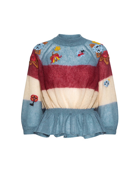 RED VALENTINO sweater embroidered mohair floral blue