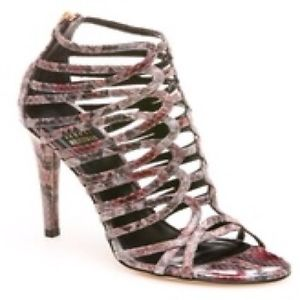 $460 Stuart Weitzman Loops Merlot Pearl Python Leather Strappy Heel Sz 8 5 NWB | eBay