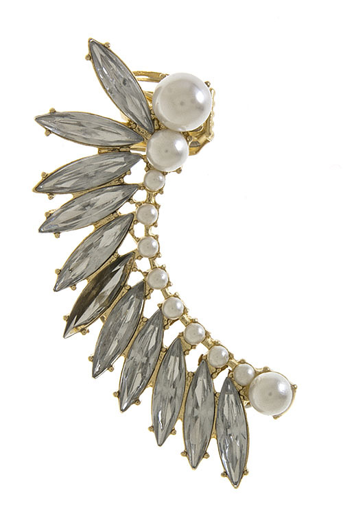 Crystals & pearls ear cuff earring