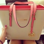 bag,michael kors bag,michael kors,nude bag,beige,designer bag,a mk purse off white with pink straps