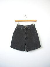 shorts,vintage shorts,vintage,High waisted shorts,denim shorts,80s style,90s style,high waisted denim shorts,black,black jeans,black and white