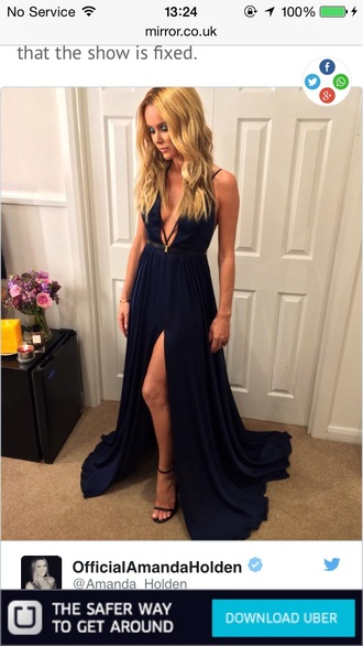 dress amanda holden navy dress side split maxidress