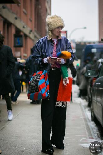 hat tumblr streetstyle fur hat jacket blue jacket pants black pants wide-leg pants scarf winter outfits