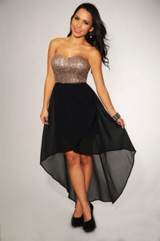 dress gold sequins black skirt high low skirt black and gold dress hair accessory
