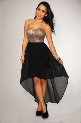 dress gold sequins black skirt high low skirt black and gold dress