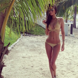 swimwear bikini pretty hot pretty girl beach pool summer sexy halter top halter bikini nude bikini sunglasses nature