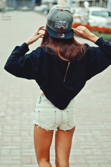 blouse black blouse snapback cut off shorts