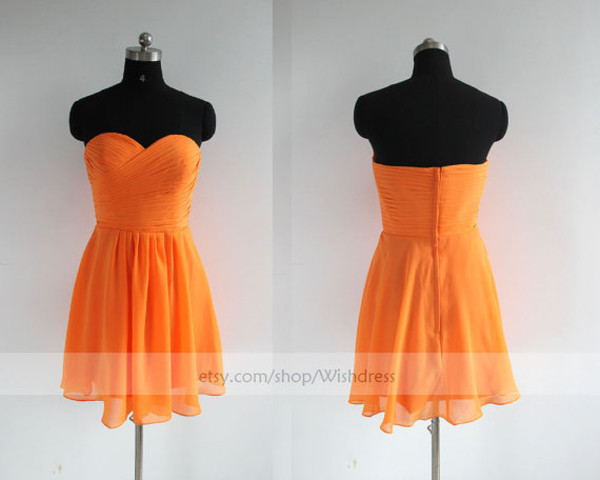 orange bridesmaiddress short bridesmaid dresses orange bridesmaid dresses knee length bridesmaid dresses cocktail dersses homecoming dress orange chiffon dress dress for wedding