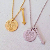 jewels,necklace,cute,arrow,dainty,brave,courage,gold,silver,coin,charms,be brave and keep going,be brave and keep going necklace,coin necklace