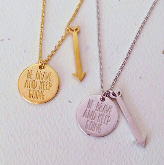 jewels necklace cute arrow dainty brave courage gold silver coin charms be brave and keep going be brave and keep going necklace coin necklace