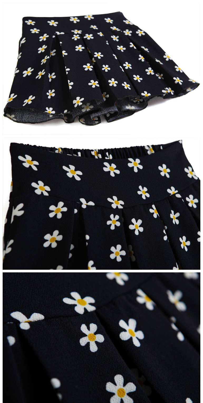 Retro Floral Print Pleated Skirt [FMCC0283] - PersunMall.com