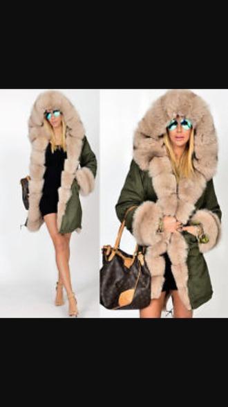 jacket parka fur hood womens parka parka fur hood green