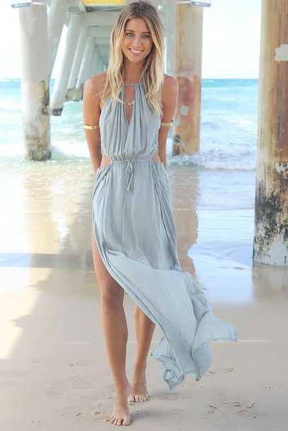 Dress blue dress beach flowing dresses sexy dress for Blue beach wedding dresses