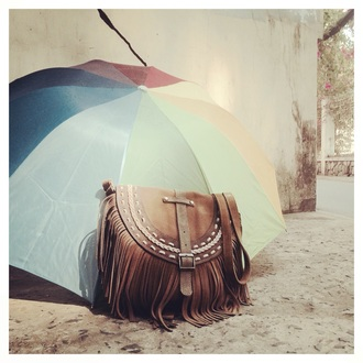 bag fringe leather suede tribal pattern closure umbrella sunlight colors crossbody bag cross braid clock fringed bag leather bag handmade