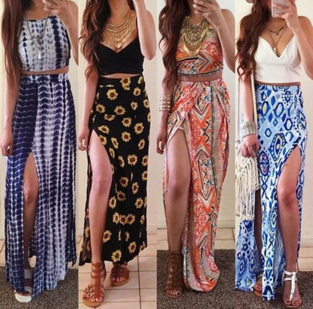 dress skirt slit skirt maxi skirt maxi summer dress two-piece weheartit daisy patterned dress slit maxi skirt