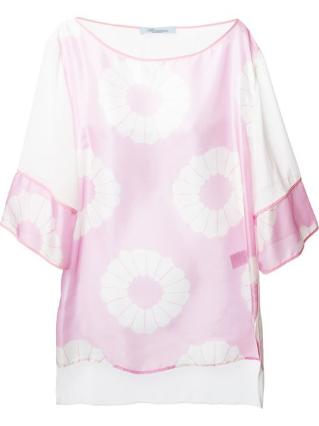 blouse print purple pink top