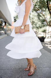 dress,tumblr,white dress,midi dress,ruffle,ruffle dress,flowy,flowy dress,sandals,sandal heels,high heel sandals,bag,clutch,sleeveless,sleeveless dress