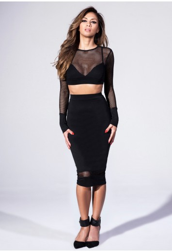 5e78982792ad61 Missguided - Long Sleeve Fishnet Crop Top In Black