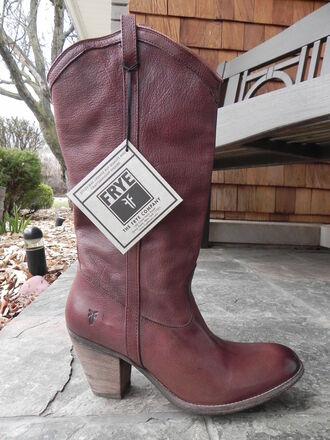 shoes boots cowboy fashion brown leather red western country style frye