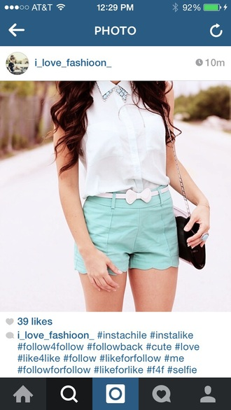 top mint blue necklace necklace bows belt bow belt shorts white top tank top black purse black bag mint green shorts green shorts big necklace blue ring shoes