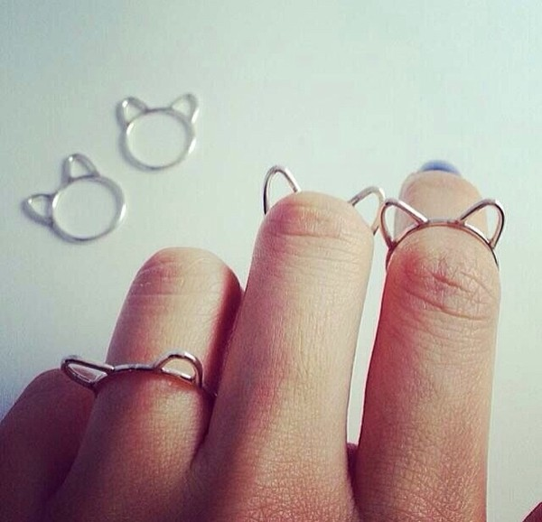 jewels cat ring cats knuckle ring silver ring ring ring