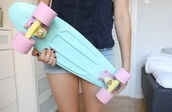 longboard,summer outfits,pastel,pastel pink,pastel goth,tumblr outfit,tumblr,skater,penny board