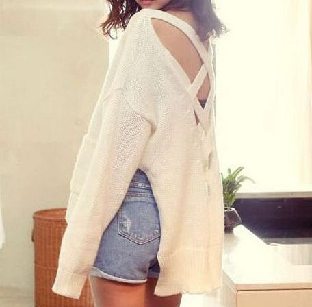 Criss cross open back high low sweater · fashion struck · online store powered by storenvy