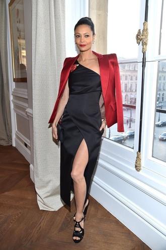 dress thandie newton slit dress one shoulder dress one shoulder sandals gown blazer prom dress fashion week 2017 fashion week