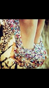 shoes,multicolor,high heels,rhinestones,gold sequins