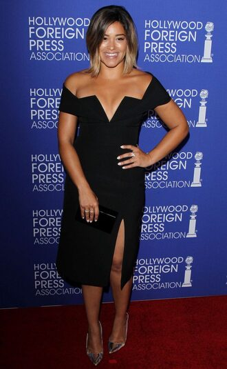 dress slit dress black dress prom dress gina rodriguez pumps midi dress bustier dress bustier off the shoulder dress