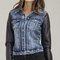 Pleather long sleeve button down denim jacket