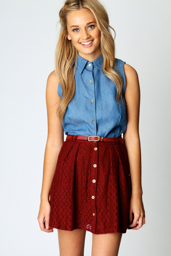 skirt button down buttoned red no sleeves