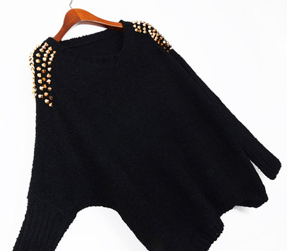 Black Batwing Sleeve Rivet Shoulders Loose Sweater - Sheinside.com