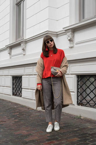 sweater tumblr red sweater coat camel camel coat pants grey pants sneakers white sneakers low top sneakers sunglasses