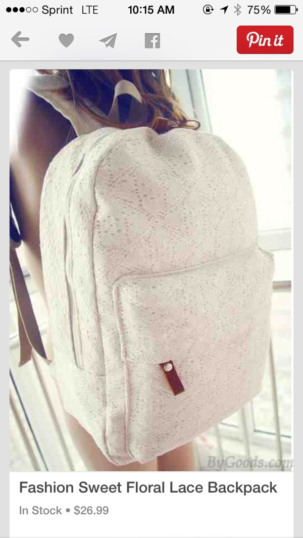 bag white lace backpack