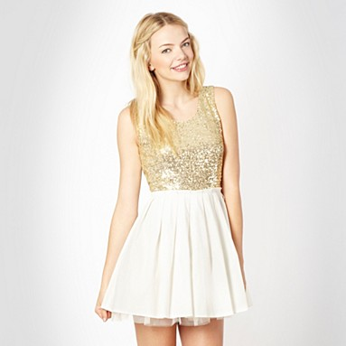 Designer gold sequin body prom dress