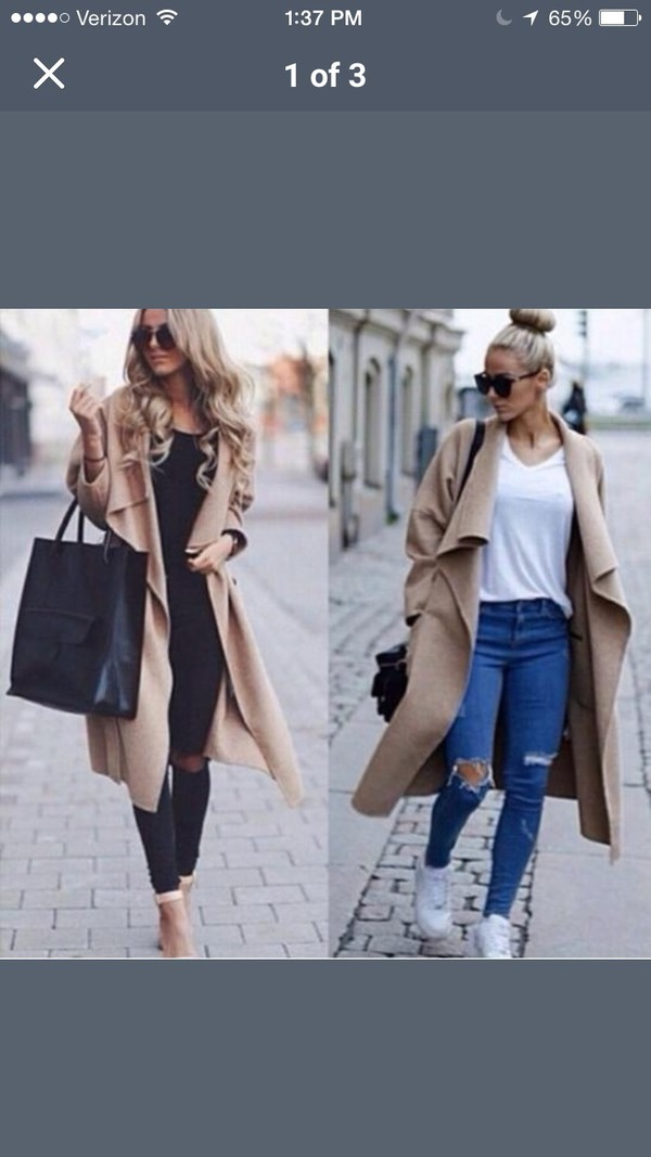 jacket camel draped front wool coat winter outfits winter outfits trench coat khaki wool coat instagram fashion